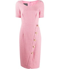 boutique moschino fitted tweed button-up dress - pink