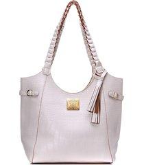 bolsa alice monteiro sacola com alã§a tranã§ada – off white - off-white - feminino - dafiti