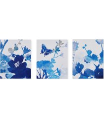 madison park cobalt garden 3-pc. gel-coated canvas print set