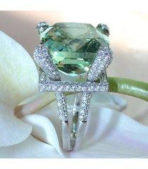 elegante verde gemma zircone anello da sposa in cristallo colore argento anelli gioielli di moda per le donne