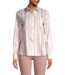 saks fifth avenue women's classic button-down linen-blend shirt - size xs