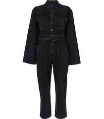 agolde belted denim jumpsuit - black