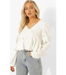 blouse met ruches en v-hals, white