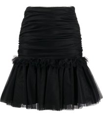 brognano tulle ruffled-hem skirt - black