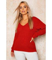 plus oversized v-neck sweater, brick red