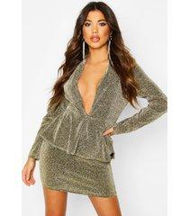 peplum structured glitter dress, gold