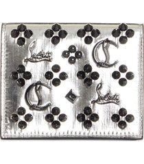 women's christian louboutin palatin spike logo metallic leather bifold wallet - metallic