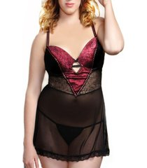 women's plus size satin v and mesh babydoll lingerie set