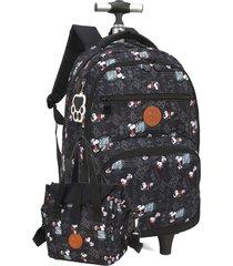 kit mochila de rodinha com alã§a snoopy  notebook com lancheira luxcel 51297 preta - preto - menina - dafiti