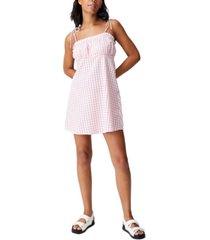 women's woven matilda tie strappy mini dress