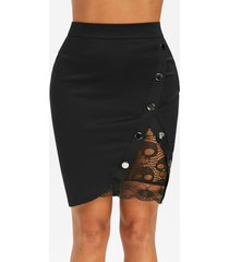 studded lace insert bodycon skirt