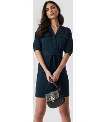 trendyol breast pocket detailed midi dress - blue