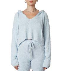 women's nia notched neckline hoodie, size medium - blue