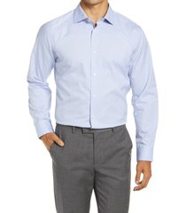 men's big & tall nordstrom trim fit non-iron dress shirt, size 18.5 - blue