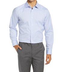 men's big & tall nordstrom trim fit non-iron dress shirt, size 18 - blue