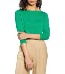 women's halogen boat neck sweater, size x-small - green