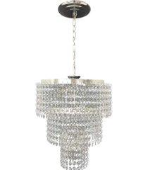 .lustre pendente de cristal acrílico alto brilho 30x70 lina design ac18