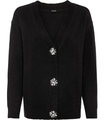 cardigan oversize con bottoni decorati (nero) - bodyflirt