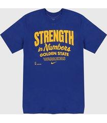camiseta azul-amarillo nike dri-fit warriors mantra