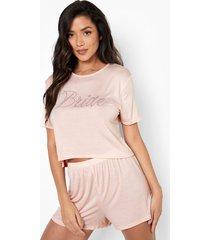 bride pyjama set met shorts en steentjes, blush