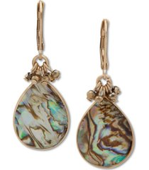 lonna & lilly gold-tone abalone stone drop earrings