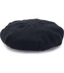 familiar floral motif knitted beret - blue