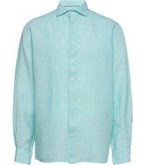 contemporary fit business casual linen shirt overhemd casual groen eton
