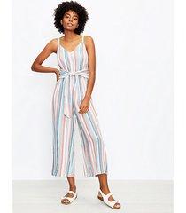 loft petite striped wrap cami jumpsuit