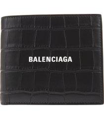 balenciaga man crocodile embossed leather black folding wallet with logo