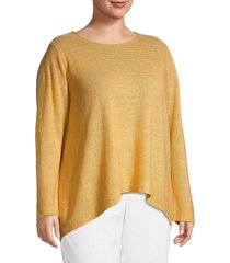 eileen fisher women's plus organic linen sweater - yellow - size 1x (14-16)