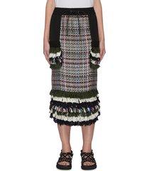 tassel fringe accent drawstring waist tweed skirt