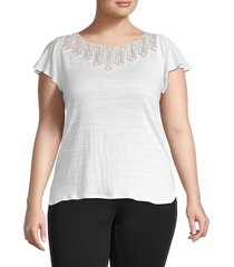 max studio women's plus textured flutter-sleeve top - white - size 2x (18-20)