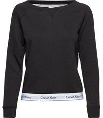 top sweatshirt long lingerie night & loungewear sweat-shirts zwart calvin klein