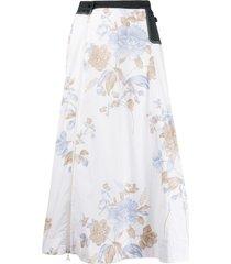 marine serre floral print a-line skirt - white