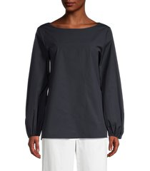 theory women's shirred sleeve blouse - navy - size s