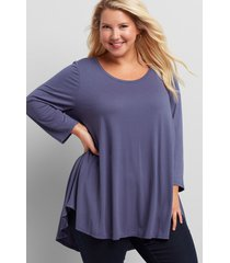 lane bryant women's 3/4-sleeve high-low swing tunic 10/12 crown blue