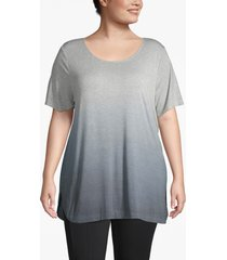 lane bryant women's active dip-dye tunic 18/20 dark heather gray
