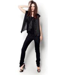 blouse amy gee - met strik en korte mouw - zwart