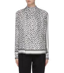 sash scarf neck weave graphic print silk blouse