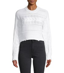 distressed cotton cropped sweater