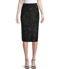 lafayette 148 new york women's sequin pencil skirt - black - size 2