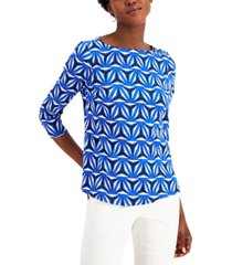 charter club printed 3/4-sleeve cotton top, created for macy's