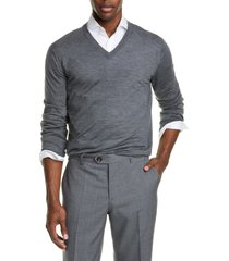 men's brunello cucinelli fine gauge wool & cashmere v-neck sweater, size 52 - grey