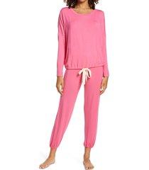 women's eberjey gisele slouchy pajamas, size small - pink