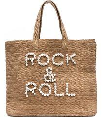 btb los angeles rock & roll straw tote - beige