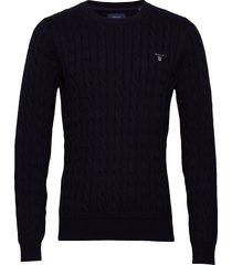 cotton cable crew stickad tröja m. rund krage blå gant