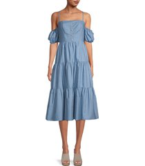 bcbgmaxazria women's chambray cold-shoulder tiered dress - chambray - size 0