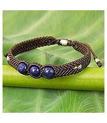 lapis lazuli braided cord bracelet, 'the blue friend' (thailand)