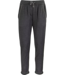 brunello cucinelli stretch cotton-silk trousers navy