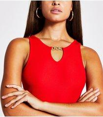river island womens red cutout keyhole bodysuit